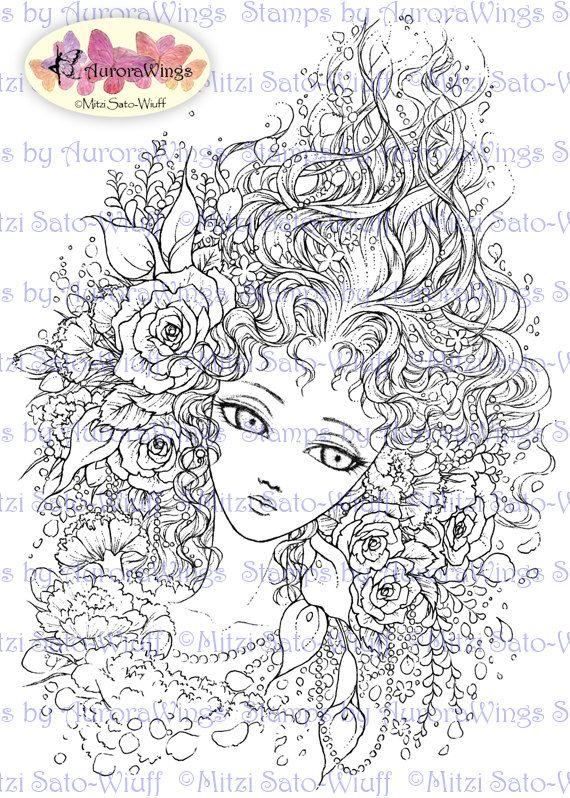 Digital Stamp Flower Maiden Big Eye Doll Face By