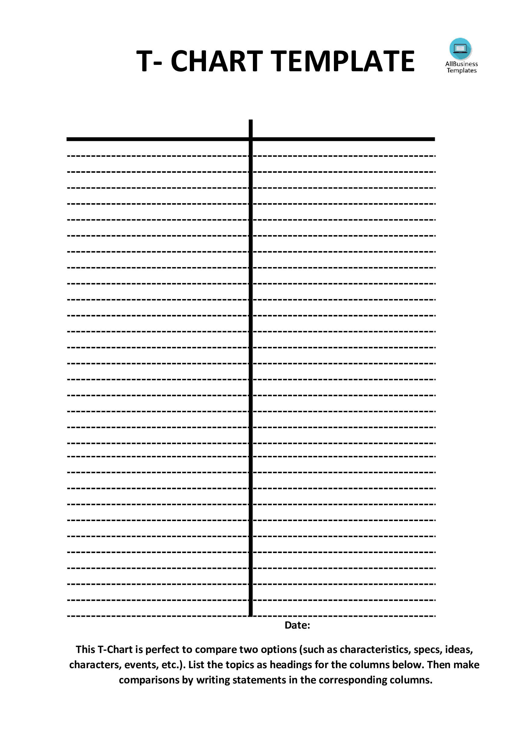 T Chart Template Vertically Positioned