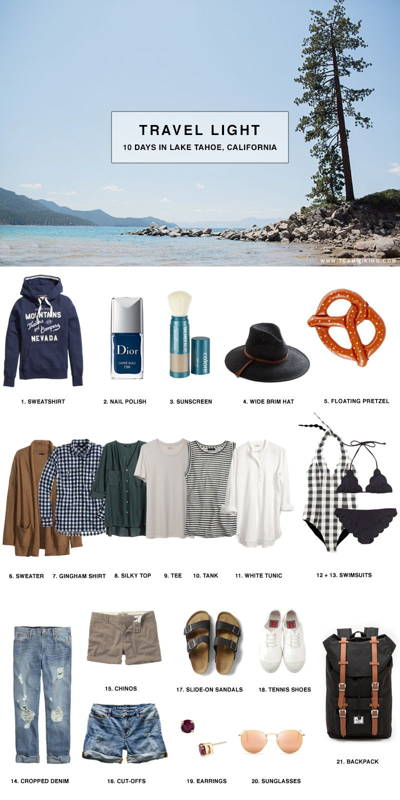 1. Mountains Sweatshirt / 2. Carre Bleu Nail Polish /3. Colorescience Mineral Sunscreen / 4. Wide Brim Hat / 5. Floating Pretzel / 6. Relaxed Cardigan / 7. Gingham Shirt / 8. Silk Top / 9. Neutral Tee / 10. Striped Tank / 11. White Tunic / 12. Gingham Swimsuit / 13. Scalloped Bikini(in navyRead More