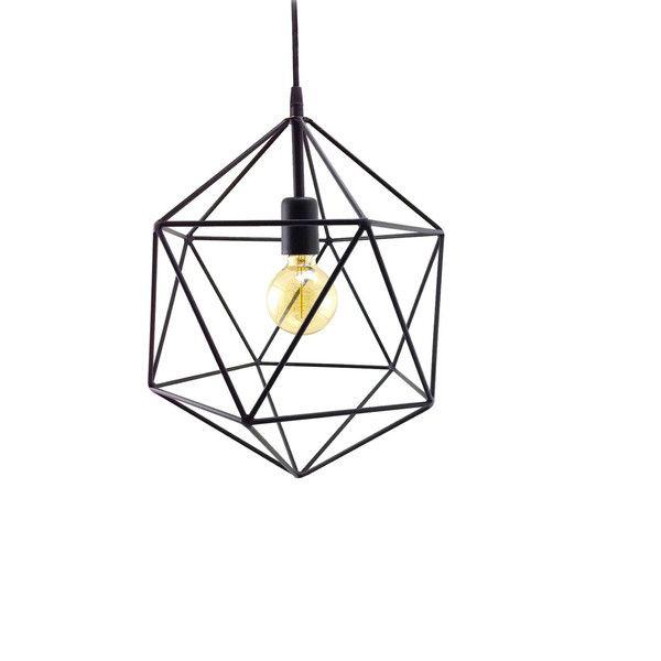 Geometric Pendant Light Handmade Hanging Light Cage Polyhedron... (1.392.500 IDR) ❤ liked on Polyvore featuring home, lighting, ceiling lights, metal globe, metal chandelier, metal pendant lamp, metal lamp shade e metal pendant light