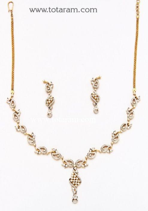 18K Gold Diamond Necklace Earrings Set Totaram Jewelers Buy