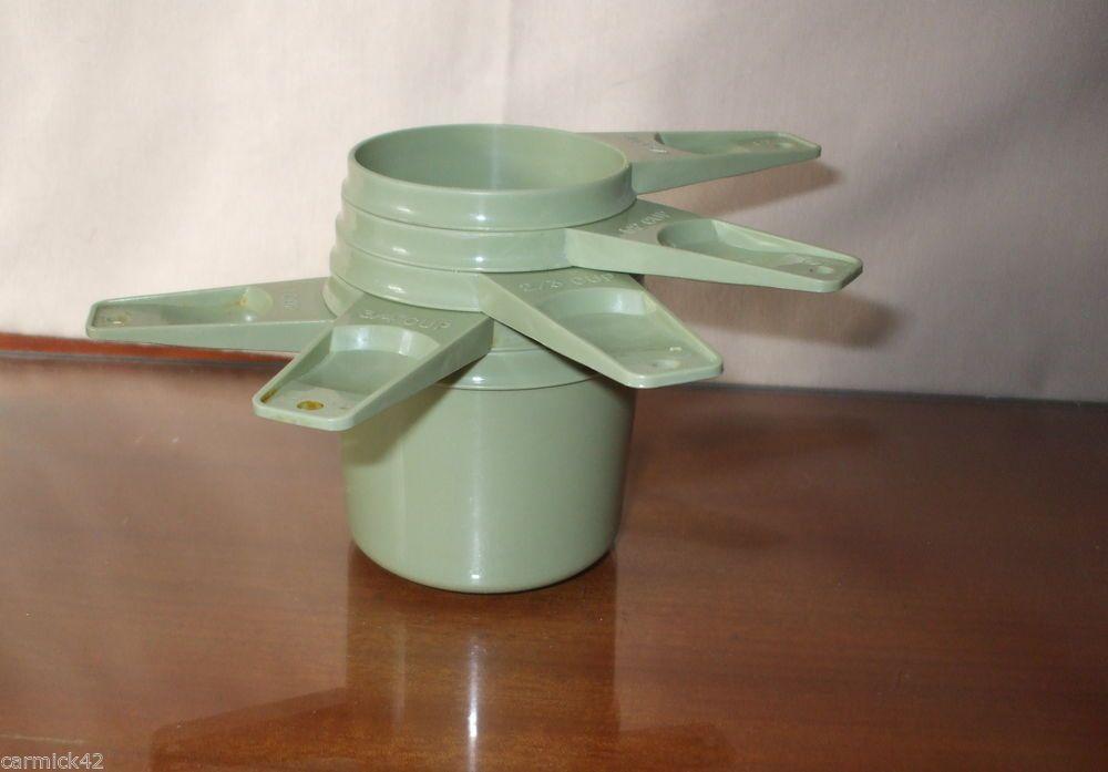 Set of Five Vintage Tupperware Avacado Nesting Measuring Cups  1/3 Cup - 1 Cup