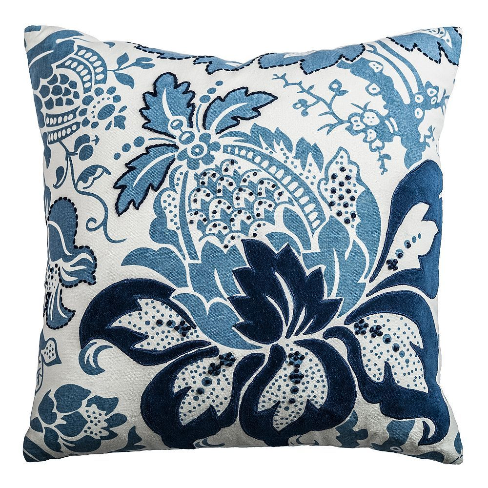 Rizzy Home French Throw Pillow, Blue   Throw pillows, Floral ...