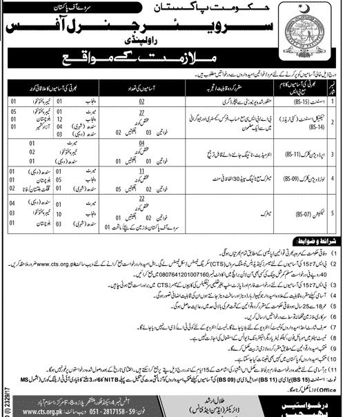 Government Survey Of Pakistan Jobs  For Assistants And Lower