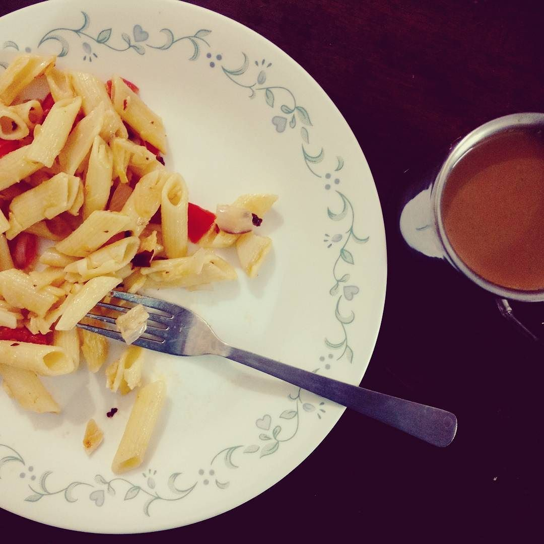 Midnight meals - pasta & coffee!  #foodlover #food #amcooking #whynot #bestpic #igers #arty #hungry #artforsale #modernart #artist