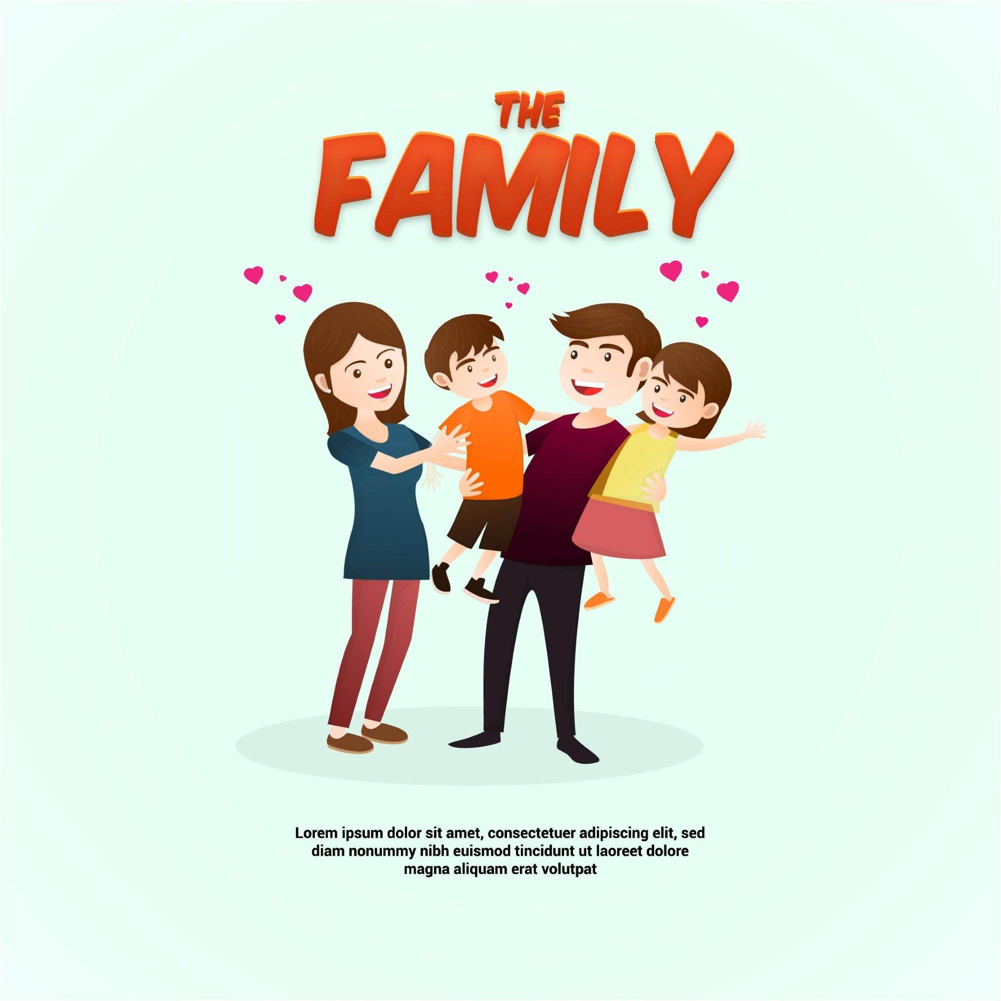 The Happy Family Day Vector Background Graphic