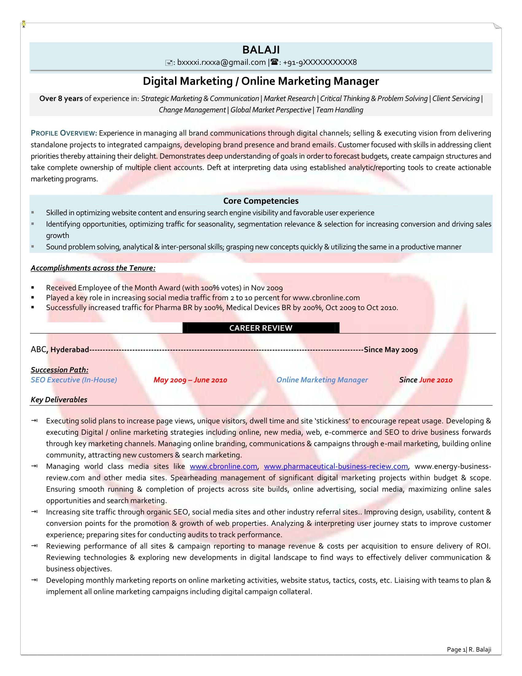 8 years resume format digital marketing manager
