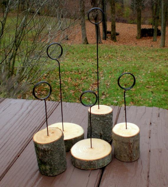 Wedding Gift Table Ideas: 5 Piece Set Of Rustic Wedding Table Number Holder