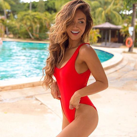 c306a52e978be One piece red baywatch style high cut vintage retro swimsuit ...
