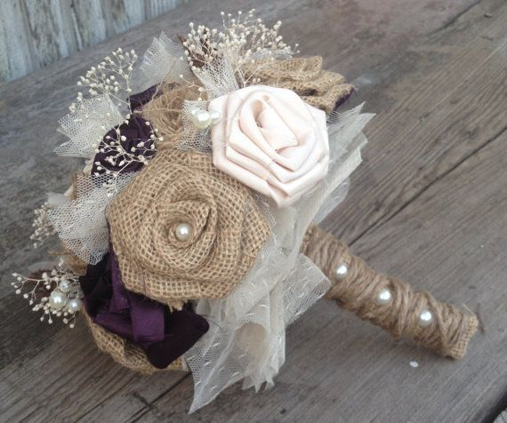 Beautiful Bridal Bouquets With Handmade Silk And Burlap Flowers Vintage Inspired Broaches