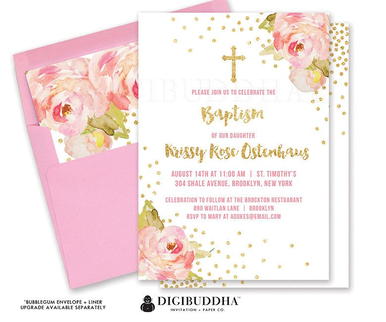 GIRL BAPTISM INVITATION Girl Christening Invitation Party First ...