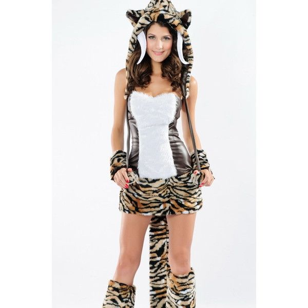 Sexy Deluxe Adult Halloween Tooth Tiger Costume (65 CAD) ❤ liked on Polyvore featuring costumes, coffee, sexy halloween costumes, adult costume, deluxe halloween costumes, sexy tiger costume and white tiger costume
