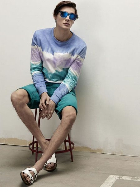 Men's Blue Acid Crew-neck Sweater, Teal Shorts, White Leather ...
