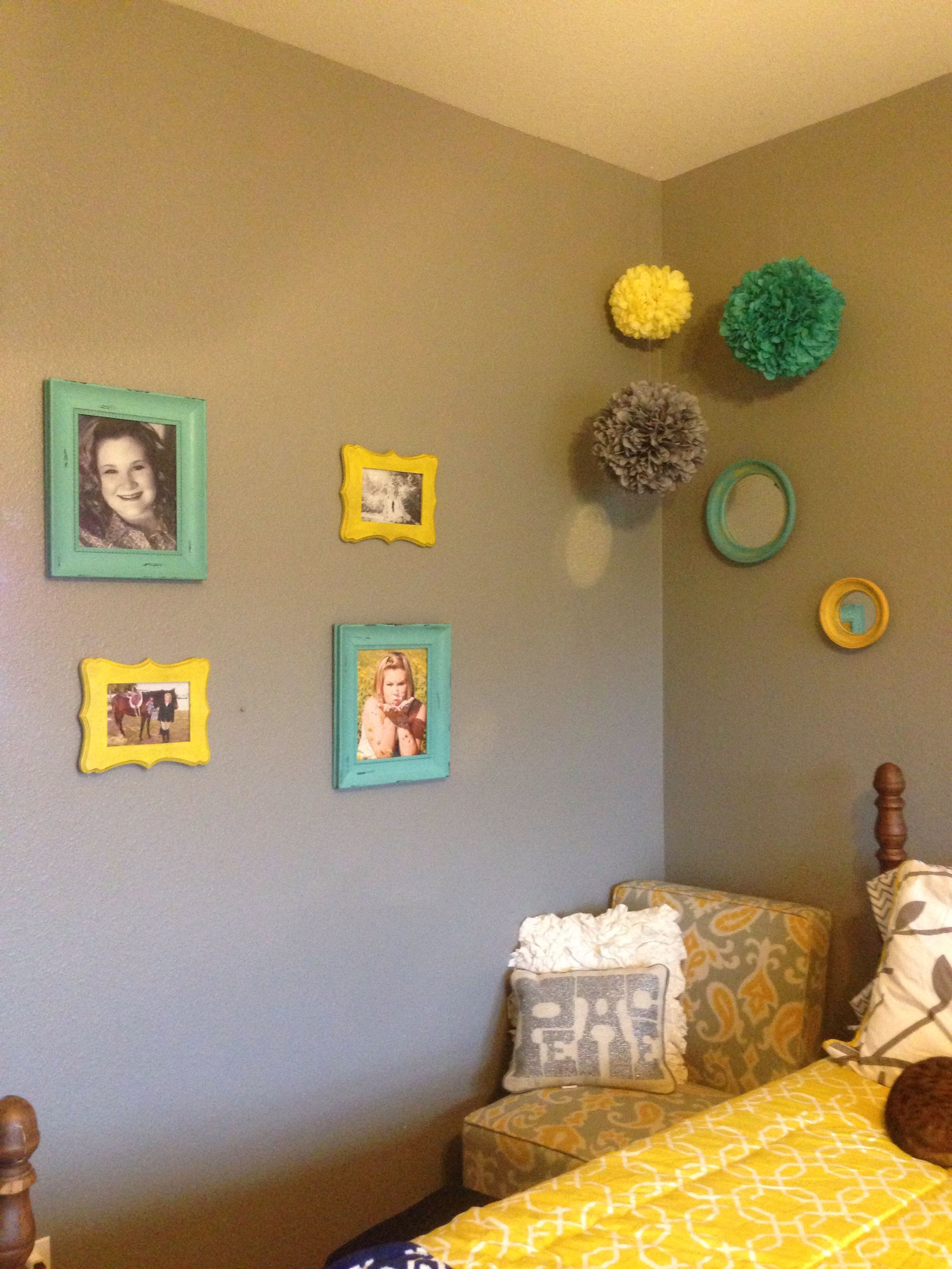 Grey yellow and turquoise with images decor home