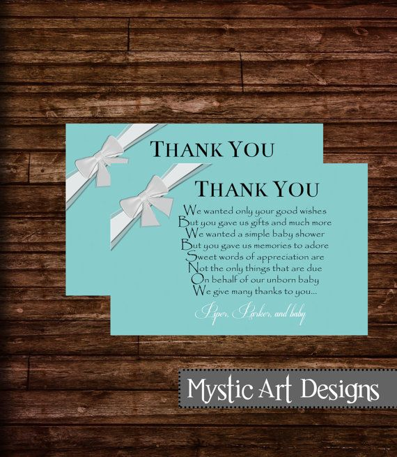 Tiffany Baby Shower Thank You Cards, Baby Shower Invitation, Baby Shower,  Printable,