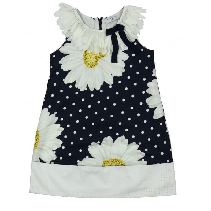 5ca6fcd97d0 Monnalisa Girl s Blue Dress with Frilly Collar and Daisy Print. Available  now at www.chocolateclothing.co.uk  childrenswear  minifashion  Monnalisa    ...