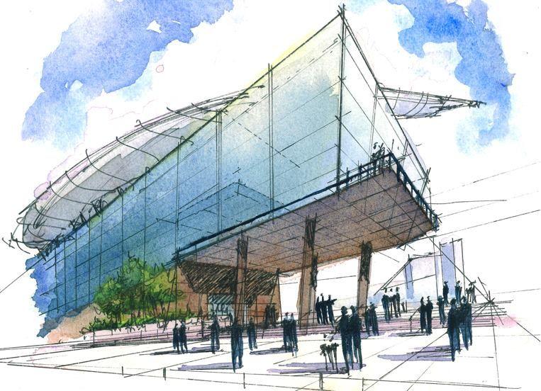 propuesta arquitectonica representada con tinta y acuarela