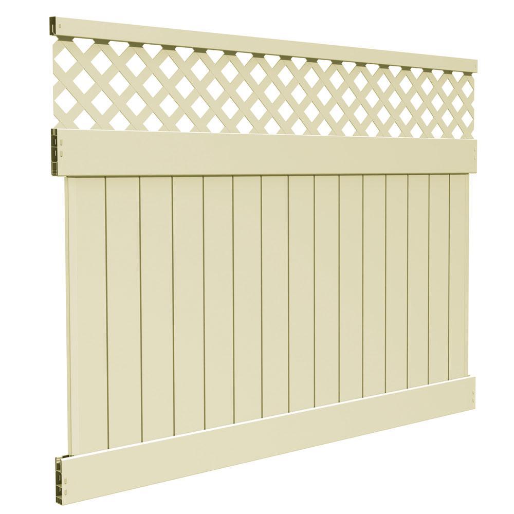Veranda Anderson 6 Ft X 8 Ft Sand Vinyl Lattice Top Fence Panel