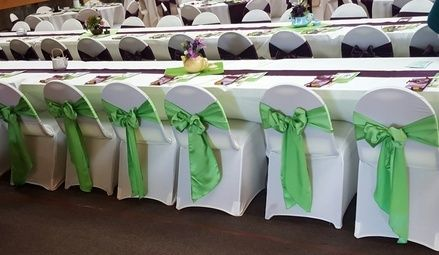 Luxurious lime green, eggplant and white linen by LCCR!