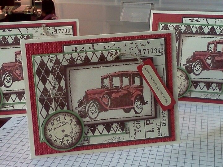 Card Making Ideas For Men Part - 40: Card Classic Cars - Masculine Card W/ Tim Holtz Stamps.