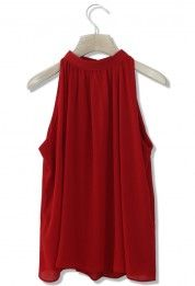 Ethereal Sleeveless Crepe Top in Red