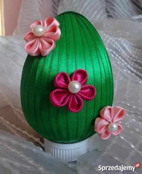 Jajko Wielkanocne Ze Wstazki Z Kwiatami Kanzashi Rekodzielo Sprzedajemy Pl Easter Eggs Kanzashi Decor
