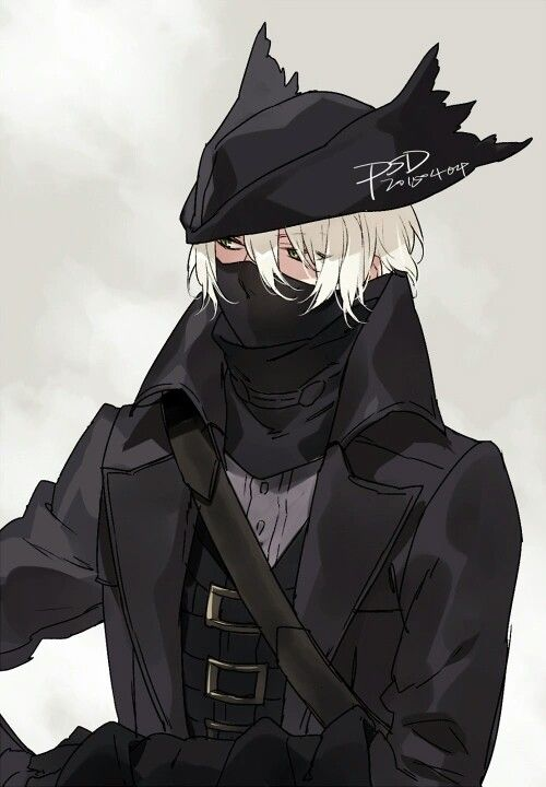 Anime boy, black outfit, hat, mask, white hair, cloak ...