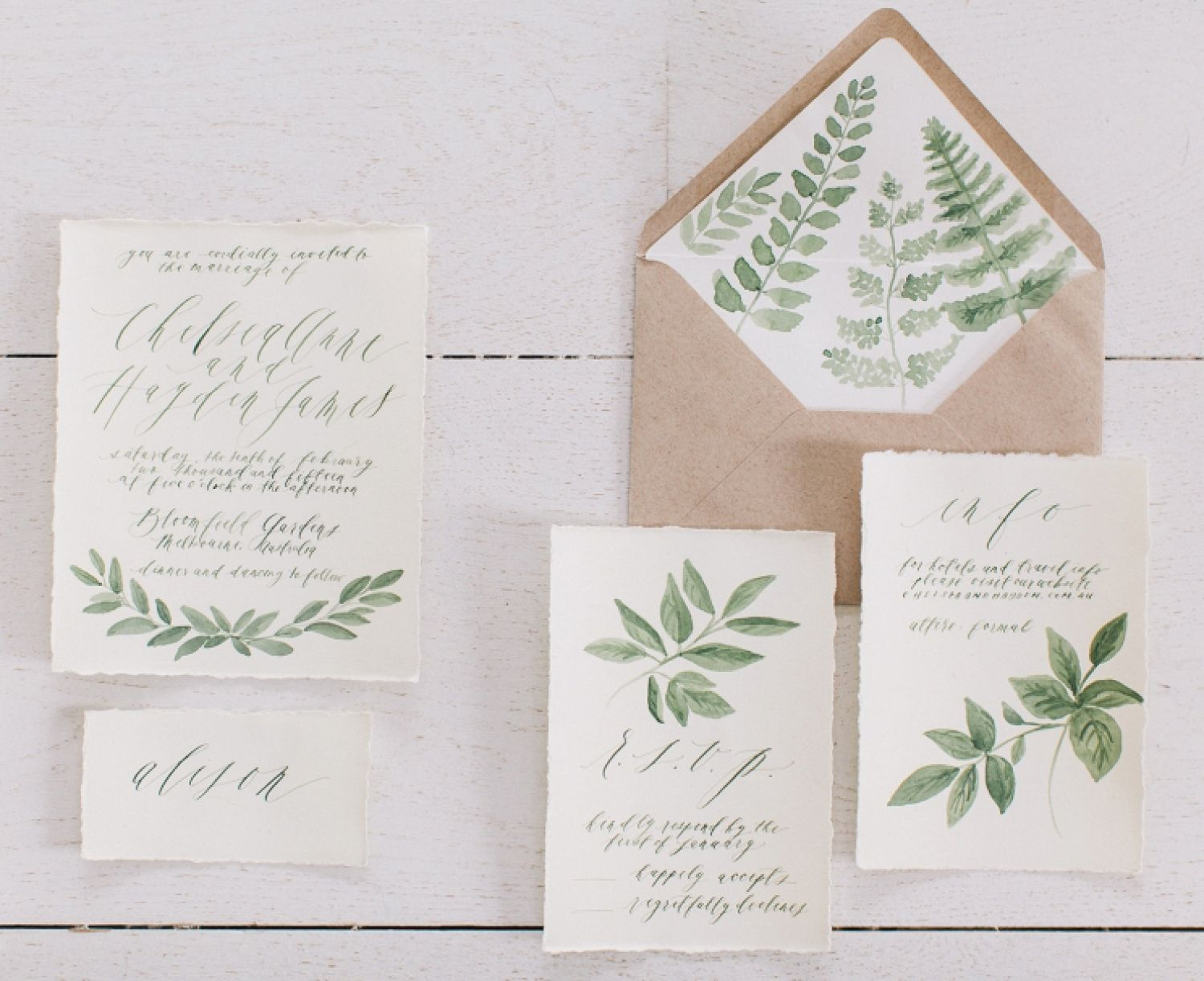 Botanical Illustrations Wedding Invitations By Written Word