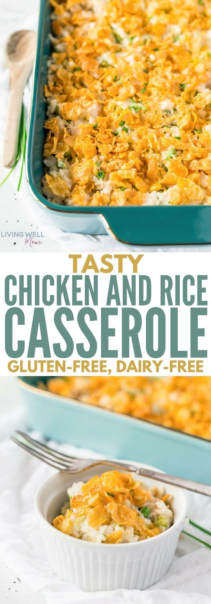 My family loves this Tasty Chicken and Rice Casserole - it's simple, filling, delicious and it's gluten-free and dairy-free! Perfect #dinnerrecipes #recipe #glutenfree #glutenfreerecipes #dairyfree #chickendinner