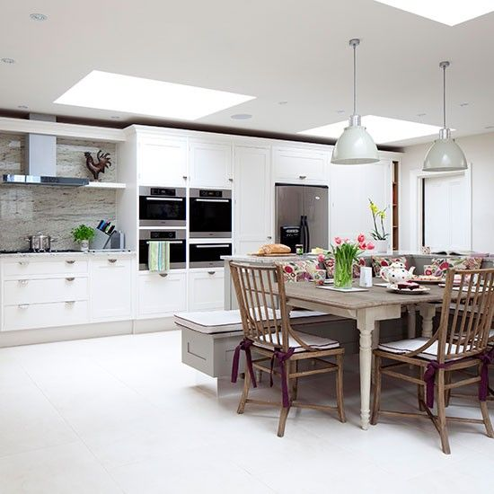 Large Open Plan White Kitchen Diner | Kitchen Decorating | Ideal Home