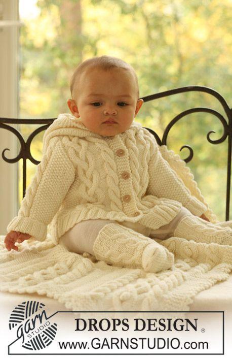 """Chaqueta, calcetas y frazada en """"Merino Extra Fine"""". ~ DROPS Design ..."""