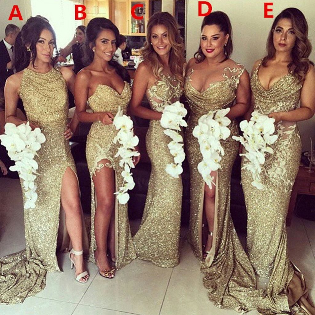 Y Unique Mismatched Gold Seuin Side Split Sparkly Women Long Wedding Party Dresses For Bridesmaids