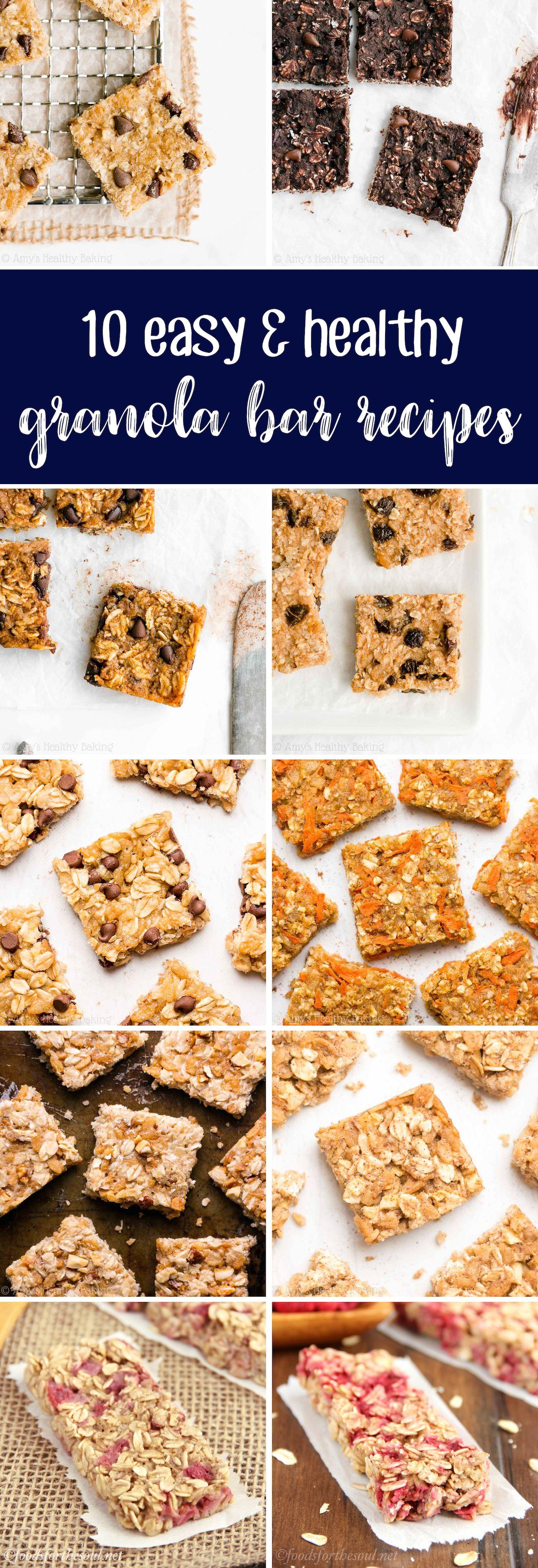 10 Easy Healthy Granola Bar Recipes All Are Gluten Free With No Refined Flour Or Sugar In 2020 Granola Recipe Bars Healthy Granola Bars Granola Bar Recipe Healthy