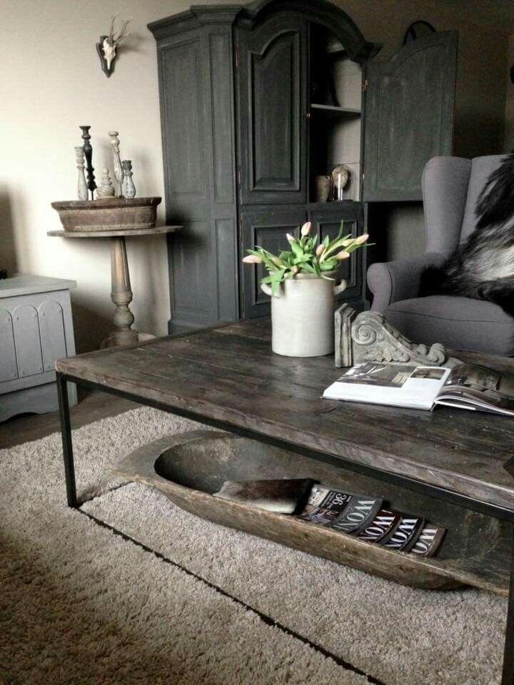 mooie kast en kleur blad op salontafel woonkamer pinterest
