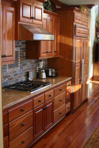 Cherry Kitchen With Slate Backsplash Traditional