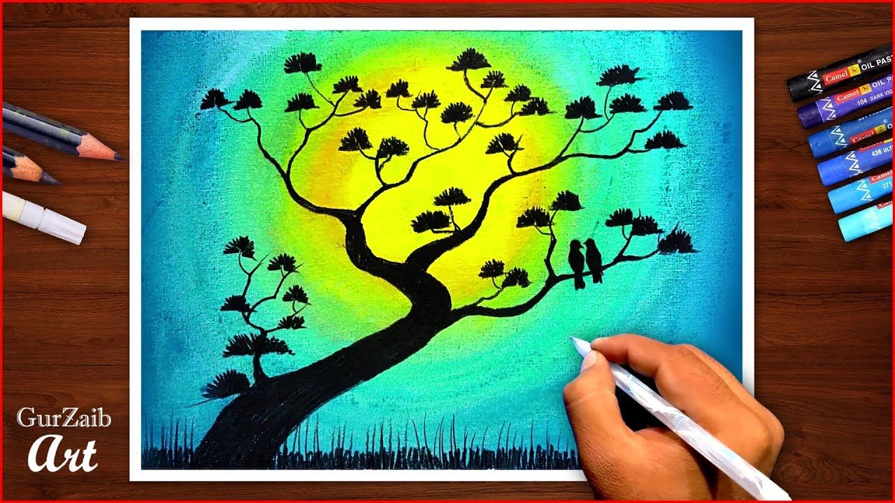 Flowers Tree Drawing With Oil Pastels Nature Scenery Tutorial Easy Colorful Drawings Oil Pastel Tree Drawing