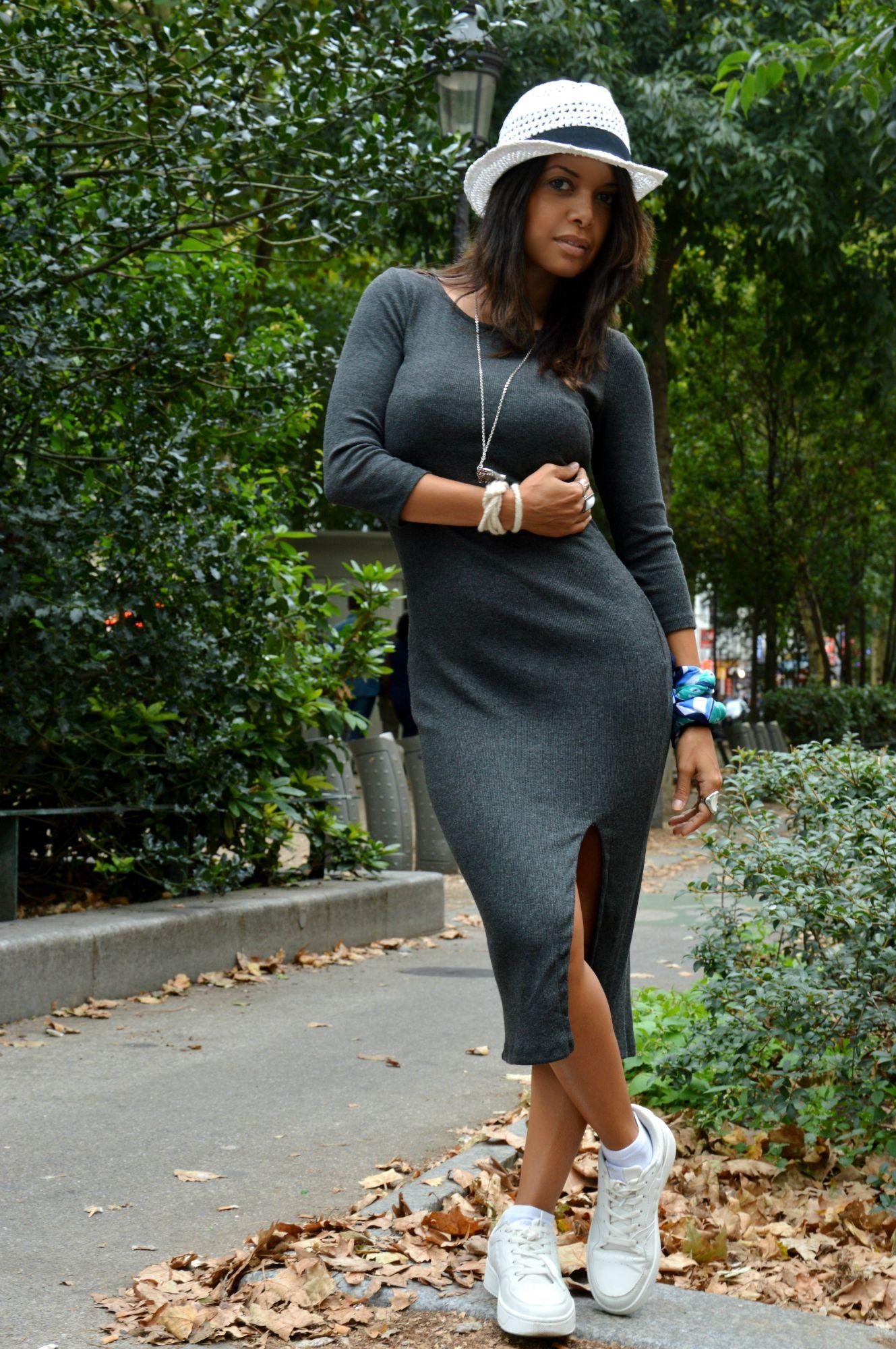 midi dress  gray  , hat white and sports
