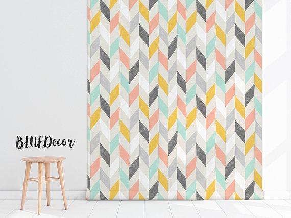 Pastel Chevron Wallpaper Herringbone Wallpaper Peel And Etsy Chevron Wallpaper Herringbone Wallpaper Abstract Wall Decor