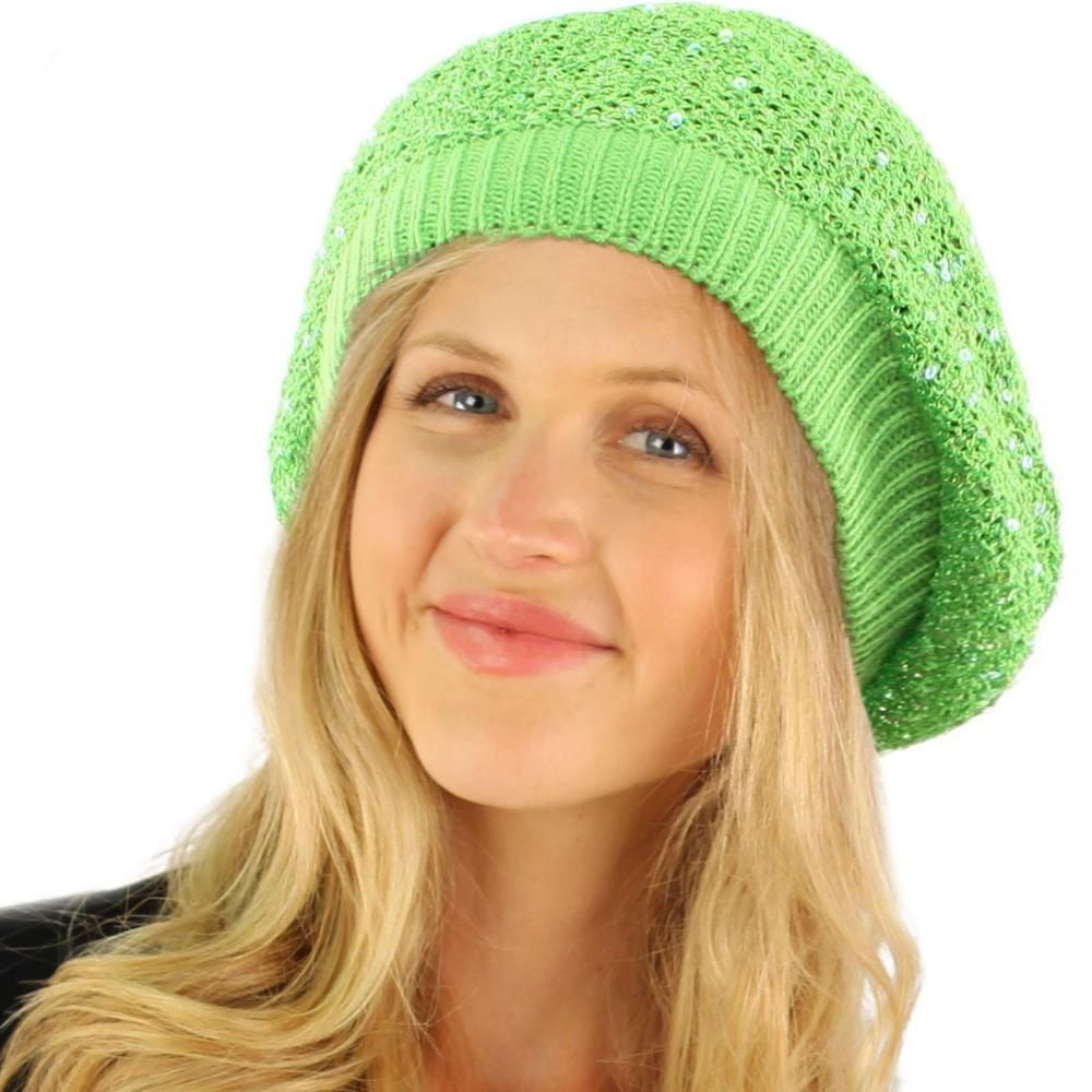 37051926d4309 Cool Light Weight Knit Sequins Shimmer Sparkle Shiny Beret Dance Cap Hat  Green  fashion  clothing  shoes  accessories  womensaccessories  hats (ebay  link)
