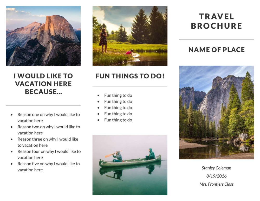 Free Travel Brochure Templates Examples Free Templates Within Travel Brochure Template For Students Travel Brochure Template Travel Brochure Tourism Brochure