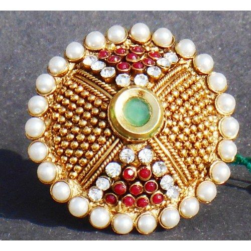 Round polki pearl and golden beads finger ring