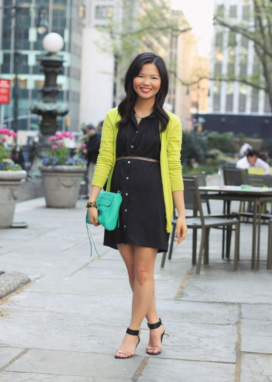 Skirt The Rules Blog  NYC fashion blogger  style blog  spring outfit  photos  black and neon outfit  Tobi black button up dress  Gap neon green  cardigan  ... c35146343