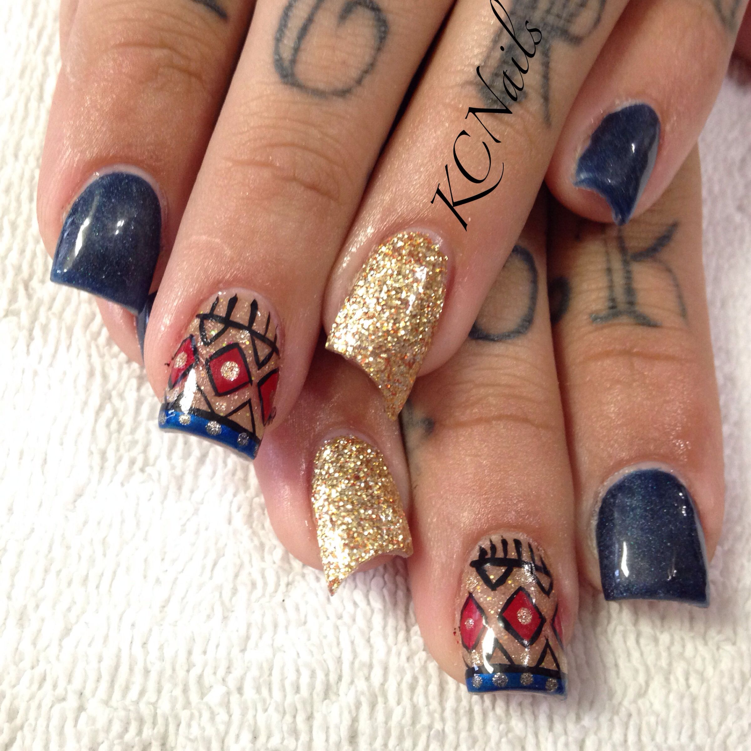 Navy acrylic nails. Lipstick nail, navy blue, gold, tan. Tribal nail ...