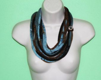 Knitting Loop Scarf : Blue brown black knit infinity scarf icord loop