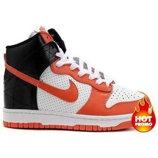 Cheap Nike Dunk High Top Premium White Neon Orange Black Shoes For Sale