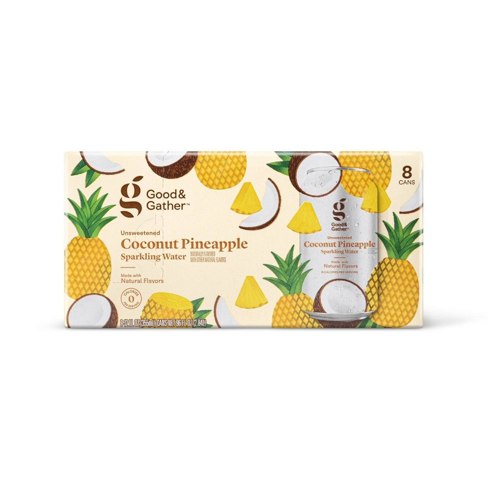 coconut pineapple sparkling water  8pk/12 fl oz cans