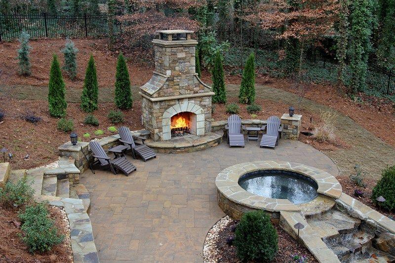 custom stone backyard fireplace outdoor fireplace artistic landscapes woodstock ga - Outdoor Stone Patio Designs