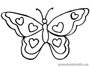 Butterfly Coloring Pages For Kids Preschool And Kindergarten Butterfly Coloring Page Butterfly Printable Heart Coloring Pages