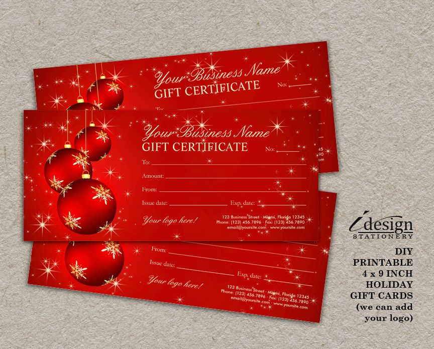 Christmas Gift Certificates Printable Holiday Gift Cards - printable vouchers