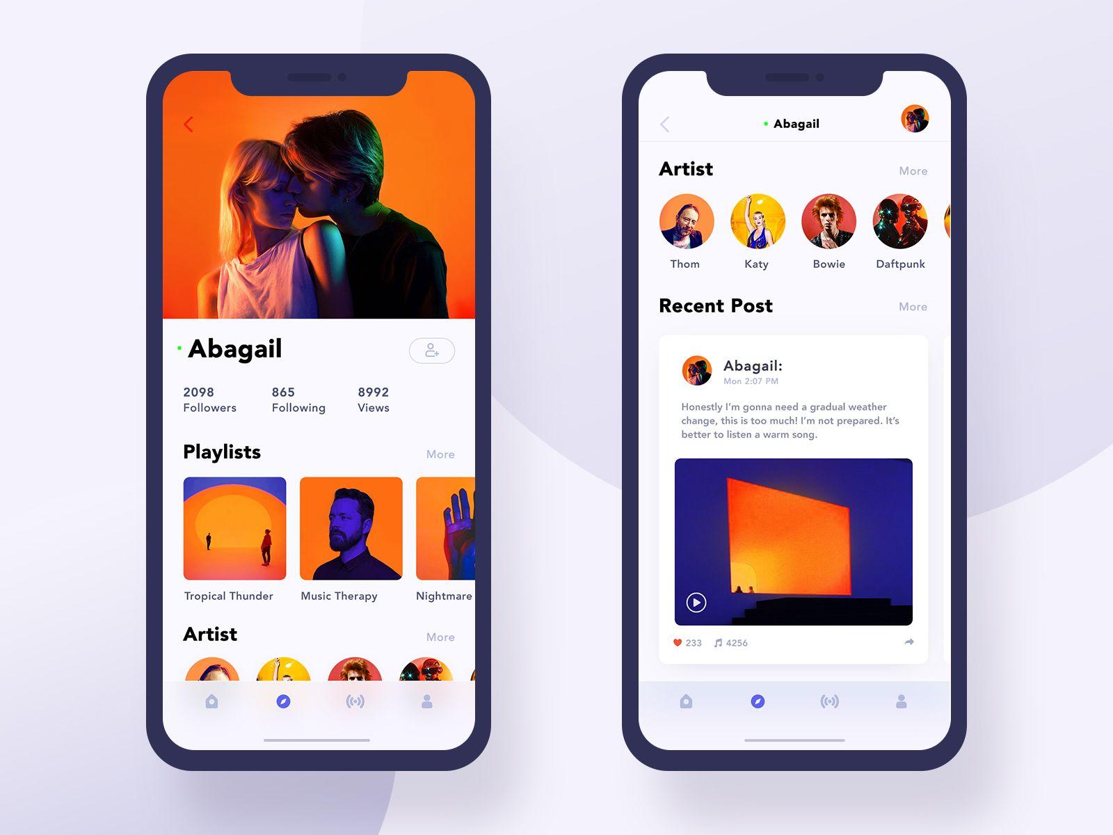 Musicapp2profile mobile app iphonex 앱 모바일 앱 웹디자인